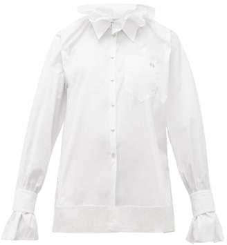 Hillier Bartley Ruffled Collar Cotton Poplin Shirt - Womens - White