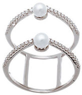 Lord & Taylor Double Strand Cubic Zirconia and Fresh Water Pearl Ring