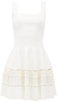 Alexander McQueen Crochet-panelled Rib-knit Mini Dress - White