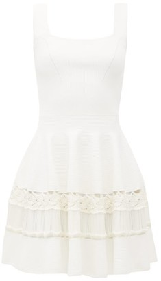 Alexander McQueen Crochet-panelled Rib-knit Mini Dress - Womens - White