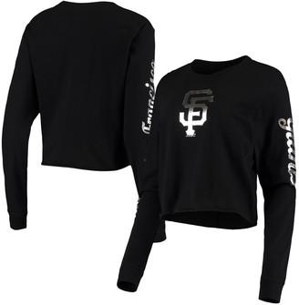 New Era Women's Black San Francisco Giants Baby Jersey Long Sleeve Cropped T-Shirt