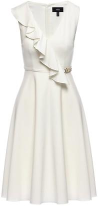 Nissa White Front Ruffle Detail Midi Dress
