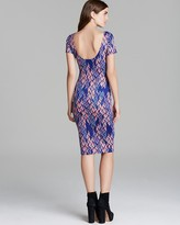 Aqua Dress - Short Sleeve Zigzag Ponte