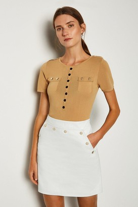 Karen Millen Leather Button Mini Skirt