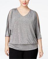 MSK Plus Size Cold-Shoulder Metallic Blouson Top