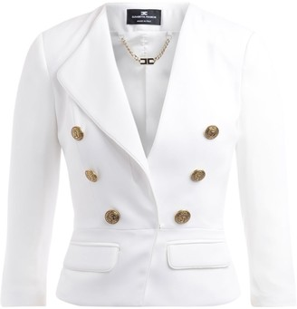 Elisabetta Franchi Jacket With 3/4 Sleeves In Ivory Fabric