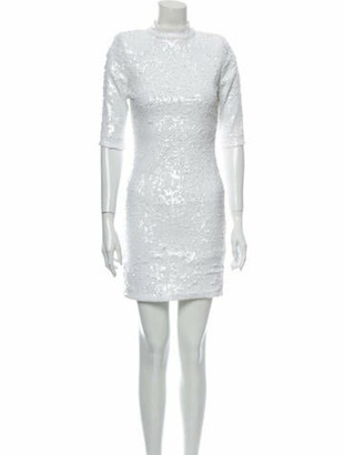 Alice + Olivia Mock Neck Mini Dress White