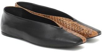Mercedes Castillo Louann snake-effect leather ballet flats