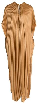 Stella McCartney Pleated Tie-Waist Satin Maxi Dress