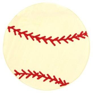 "Zoomie Kids Pierson Baseball Sports Area Rug Rug Size: Round 3'3"""