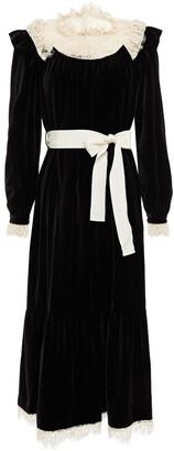 Zimmermann Resistance Corded Lace-paneled Ruffled Velvet Midi Dress