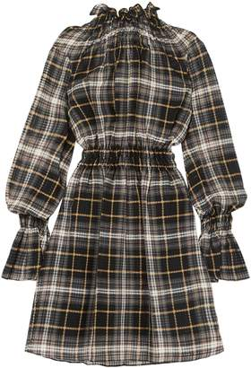 Beaufille Shirred Checked Cotton And Silk-blend Mini Dress