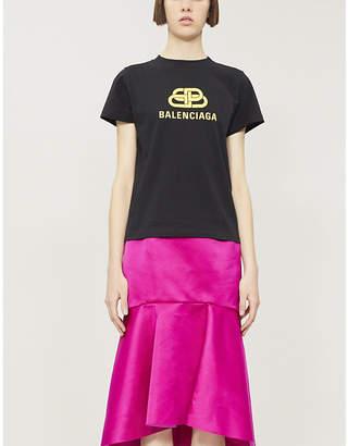 Balenciaga Logo-print oversized cotton-jersey T-shirt