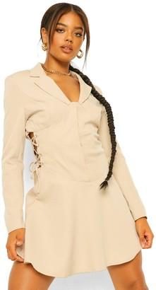 boohoo Lace Up Corset Waist Blazer Dress