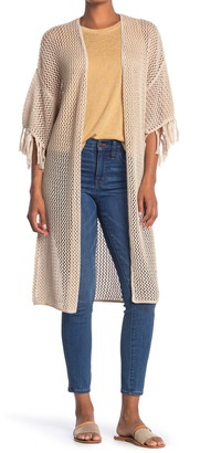 Wildfox Couture Kelso Fringe Sleeve Crochet Long Cardigan