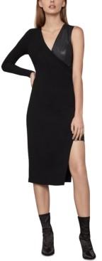 BCBGMAXAZRIA Mixed-Media High-Low Dress