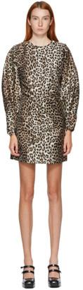 Ganni SSENSE Exclusive Black and Beige Crispy Jacquard Short Dress