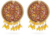 Rosantica Sicilia Tile Beaded Clip Earrings - Womens - Red Multi