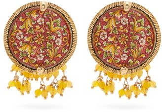 Rosantica Sicilia Tile Beaded Clip Earrings - Red Multi
