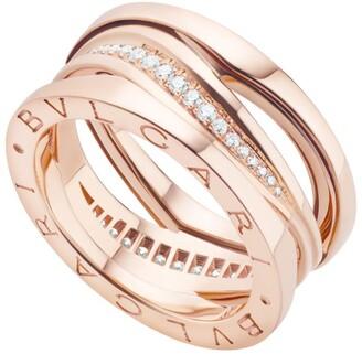 Bvlgari Rose Gold and Diamond B.Zero1 Legend Ring