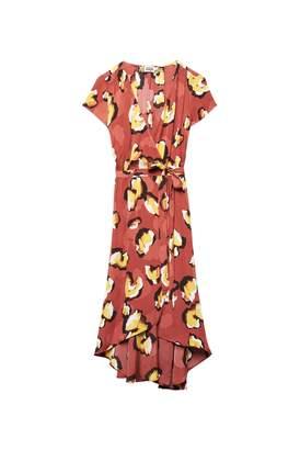 Twist & Tango - Hilma midi wrap dress in terracotta leo print - viscose   terracotta   yellow   38 - Terracotta