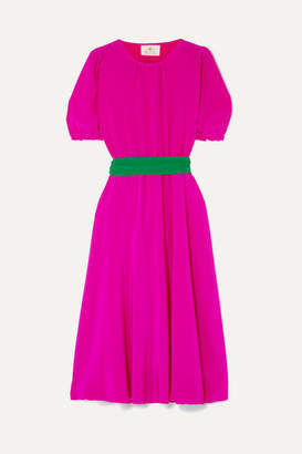 ARoss Girl x Soler Brooke Belted Silk Crepe De Chine Dress - Fuchsia