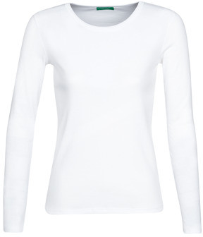 Benetton BASTIEN women's Long Sleeve T-shirt in White