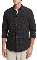 Vince Dot-Print Woven Oxford Shirt, Black