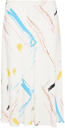 Cédric Charlier Asymmetric Printed Crepe Midi Skirt