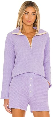 DONNI Waffle Half Zip Pullover
