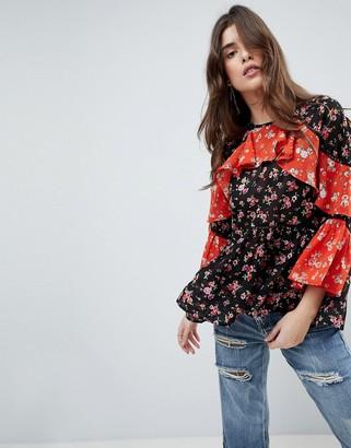 Asos Design ASOS Mix & Match Floral Print Tiered Ruffle long sleeve Blouse