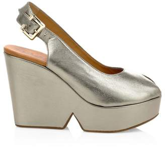 Clergerie Dylan2 Peep-Toe Slingback Leather Wedge Heels