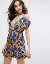 Missguided Tropical Print Ruffle Cold Shoulder Dress