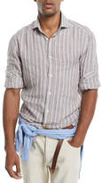 Brunello Cucinelli Multi-Stripe Linen Sport Shirt