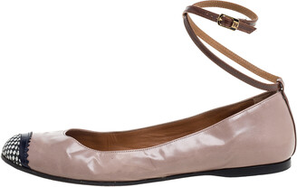 Fendi Nude Patent Leather Ankle Strap Ballet Flats Size 39