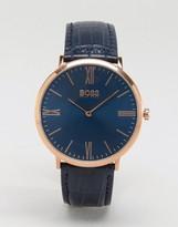 HUGO BOSS Boss By 1513371 Ultra Jackson Leather Watch In Navy