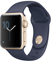 Apple Watch Series 2, 38mm Gold Aluminium Case with Sport Band, Midnight Blue
