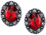 2028 Silver-Tone Red Crystal Button Earrings