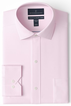 Buttoned Down Men's Tailored Fit Spread Collar Solid Non-Iron Dress Shirt
