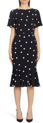Dolce & Gabbana Polka Dot Stretch Silk Charmeuse Dress