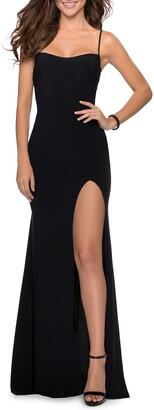 La Femme Spaghetti Strap Jersey Gown