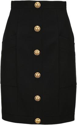 Balmain Button-Front Detailed Pencil Skirt