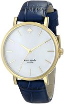 """Kate Spade Women's 1YRU0537 """"Metro"""" Gold-Plated Watch with Blue Leather Band"""