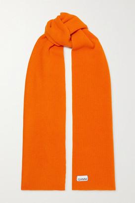 Ganni Ribbed Wool-blend Scarf - Orange