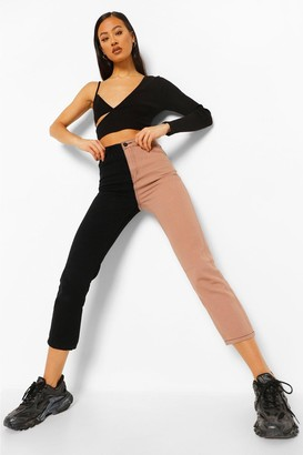 boohoo Colour Block High Rise Straight Leg Jean