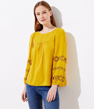 LOFT Embroidered Lace Sleeve Blouse