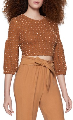 BCBGeneration Polka Dot 3/4 Sleeve Cropped Pullover
