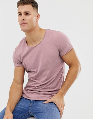 Jack and Jones Essentials scoop neck longline t-shirt in lilac-Pink