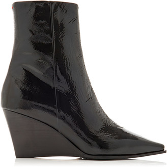 AEYDĒ Lena Patent Leather Wedge Boots
