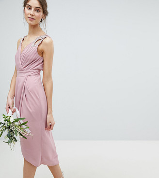 TFNC Tall Wrap Embellished Midi Bridesmaid Dress